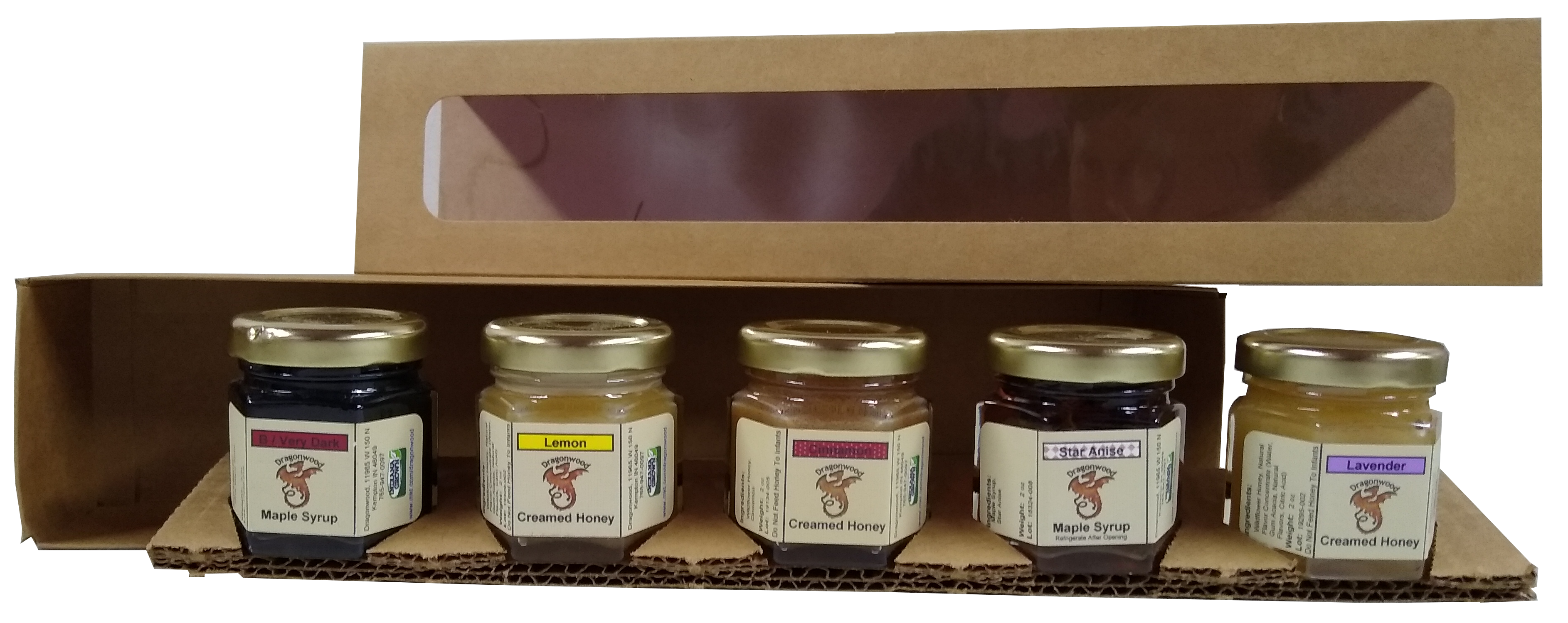 Dragonwood's Custom Sampler contains five two ounce jars of your choice