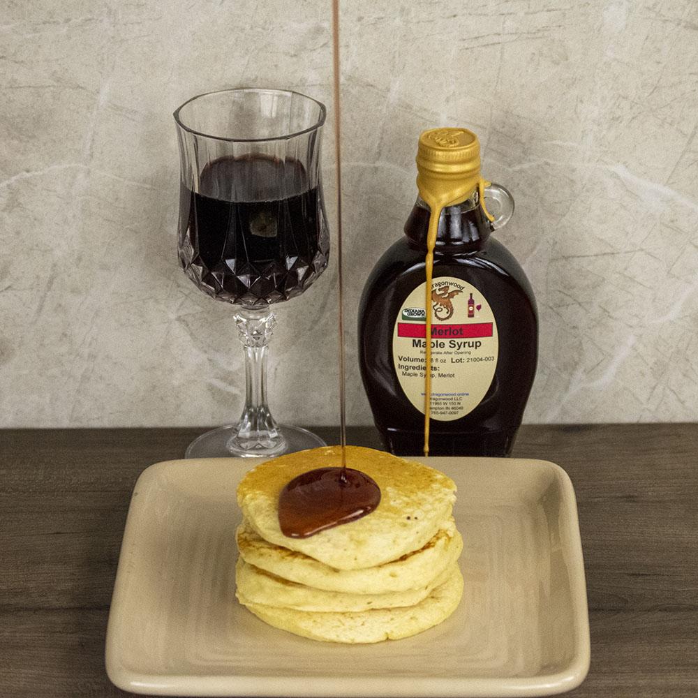 Merlot Maple Syrup on Pancakes